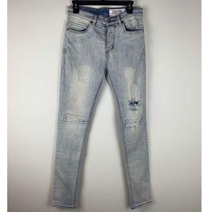 Zanerobe Joe Blow Rip Light Denim Jeans Size 30